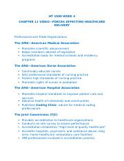 HT 1000 WEEK 4 CHAPTER 11 VIDEO_FORCES AFFECTING HEALTHCARE DELIVERY.docx