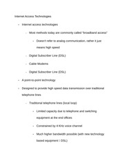 Notes on Internet Access Technologies