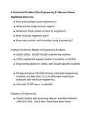A Statistical Profile of the Engineering Profession Notes