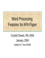 APA Word Processing Tutorial  for Word 2003 and 2007 (1)