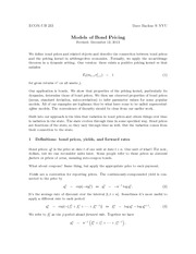 Notes on Models of Bond Pricing