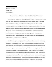 comm essay mindfulness v s multitasking essay outline  6 pages comm1007 essay 2 mindfulness v s multitasking good copy