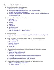106 Test 1-PsychosocialHealthUnitObjectives