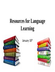 4. January 18 - Resources for language learning.pptx