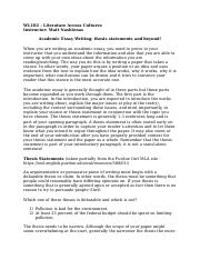 Academic Essay Writing - thesis statements