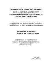 THE APPLICATION OF BPR AND ITS IMPACT ON PROCUREMENT AND PROPERTY ADMINISTRATION WORK PROCESS TEAM (