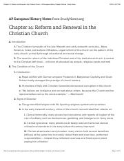 Chapter 14: Reform and Renewal in the Christian Church - AP European History Chapter Outlines - Stud