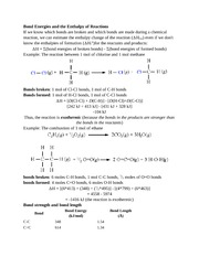 Bond Energies and the Enthalpy of Reactions