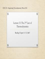Lecture 13 -2nd Law of Thermodynamics