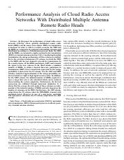 Performance Analysis of Cloud Radio Access network with distributed multiple antenna ermote radion h