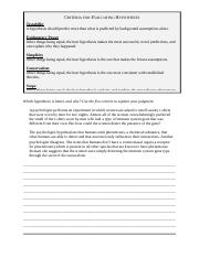 Worksheet - Hypothesis Evaluation.docx