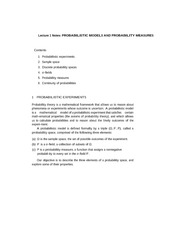 Lecture 1 Notes Probabilistic Models and Probability Measures