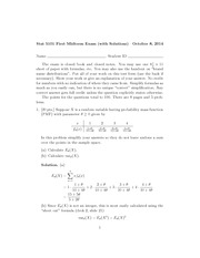 2014 Midterm Exam One, Stat 5101