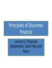 Lecture 2 Financial Statements, Cash Flow and Taxes