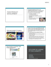 April 8Food Product Development and chemistry primer