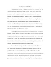 Essay on the Importance of Fair Trade