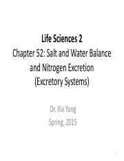 Life Science 2 - Yang Lec 7 - Excretory Systems