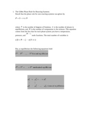 Gibbs Phase Rule Notes