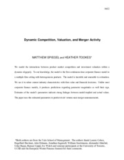 Artikel Dynamic Competition, Valuation, and Merger Activity