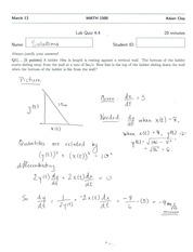 MATH 1500 Quiz 4 Solutions