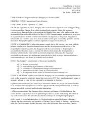 Gabcikovo-Nagymoros Project Case Brief