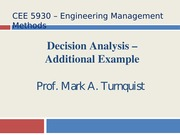 CEE 5930 Decision Analysis Class Example -- Fall 2014