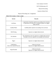 Physical Networking Unit 1 Assignments