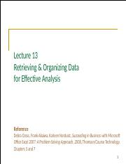 Lecture 13 - Retrieving & Organizing Data for Effective Analysis.pptx
