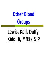 Lecture 3 Other blood groups