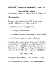 Discrete Choice Models Notes