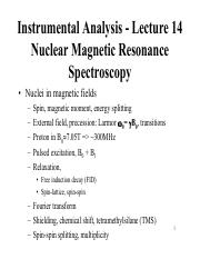 Lecture 14 - Nuclear Magnetic Resonance Spectroscopy