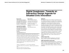 Digital Soapboxes Towards an interaction design agenda for situated civic innovative