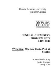 9th Edition Problem Sets Gen Chem 2