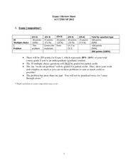 ACCT 501 Exam 1 SP 2012 Review sheet