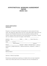 BSHS 322 HYPOTHETICAL WORKING AGREEMENT PAPER