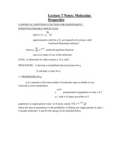 Lecture 7 Notes Molecular Properties