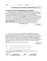 Printables Cell Membrane Coloring Worksheet Answers cell membrane coloring worksheet name key date 4 pages 2011