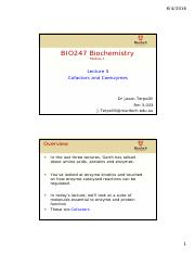 5 BIO247 Lecture 5 Cofactors and coenzymes