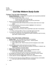 Civil War Midterm Study Guide