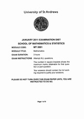 January 2011 Exam Script