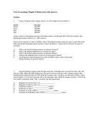 Cost Accounting Chapter 6 Homework - residential