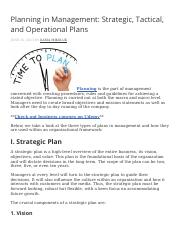 Planning in Management Strategic, Tactical, and Operational Plans.docx