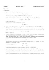 Problem Sheet 2 Solutions on Dynamics