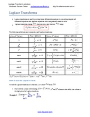 MATH 121 Laplace Transformation Solutions