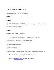 PACKET TRACER LAB 3