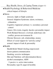 Key Health, Stress, & Coping Terms