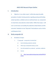 ANSC 4092 Research Paper Outline