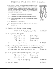 Exam 2 Solution Spring 2008 on Physics 1 Honors with Mechanics