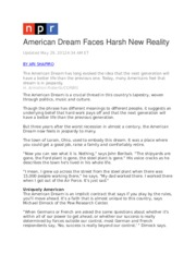 American Dream Faces Harsh New Reality.docx