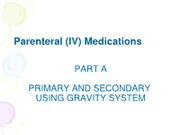 Parenteral IV Medication (Gravity) - Student